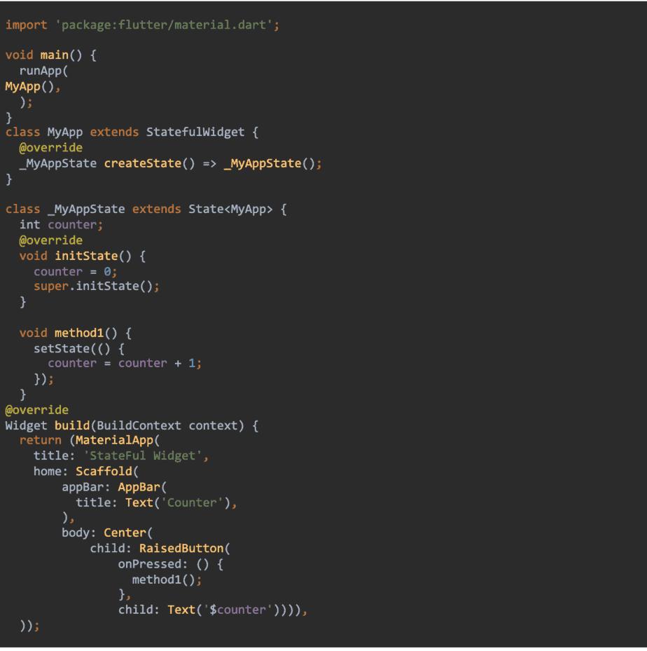 Stateful Widget Code