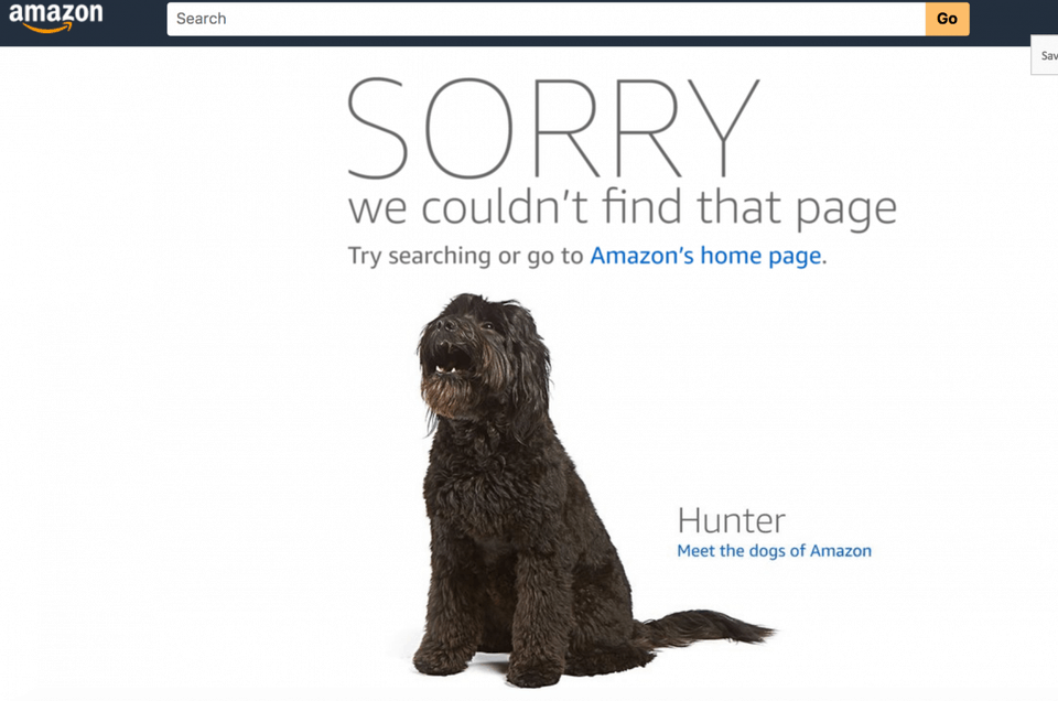 Amazon error page uses microcopy
