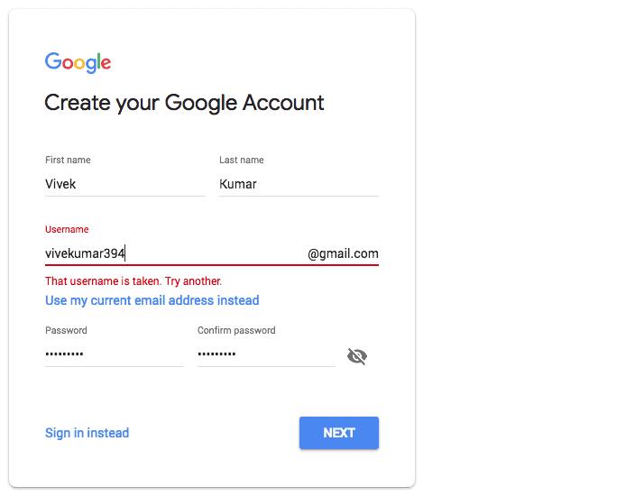Gmail error message