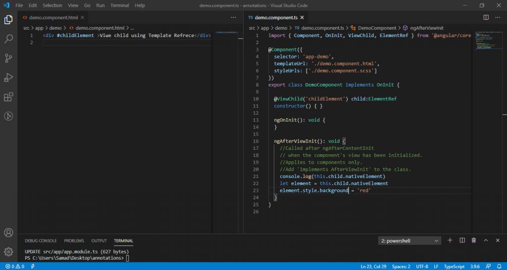 Angular @ViewChild using DOM Element