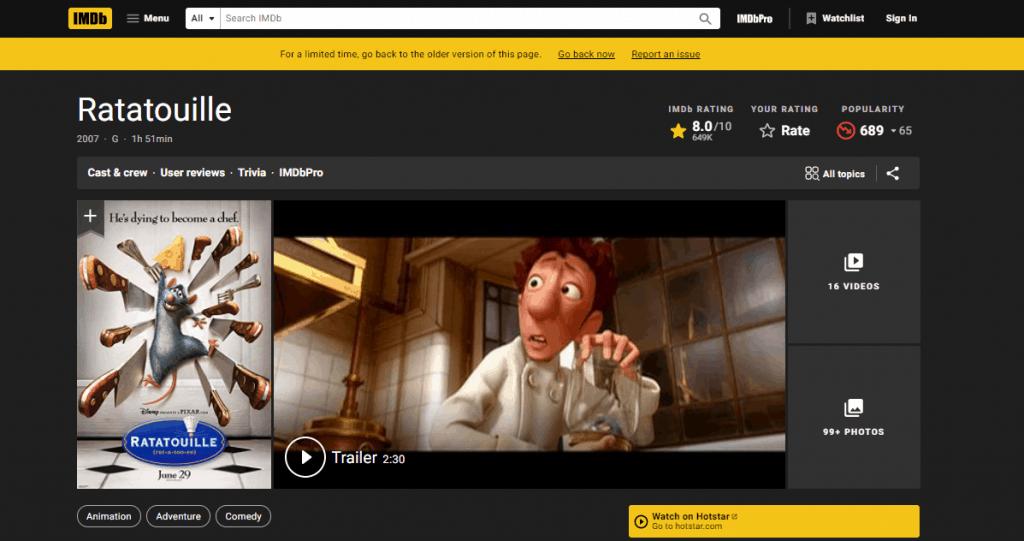 avoiding cognitive overload- example IMDB