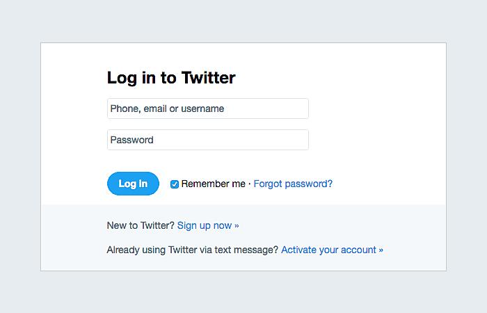 Twitter login screen