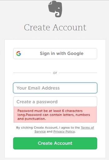evernote login screen showing an error